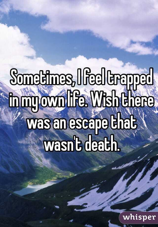 Sometimes, I feel trapped in my own life. Wish there was an escape that wasn't death.