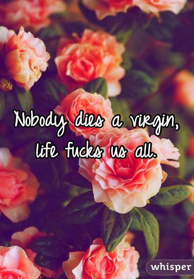 Nobody dies a virgin, life fucks us all.
