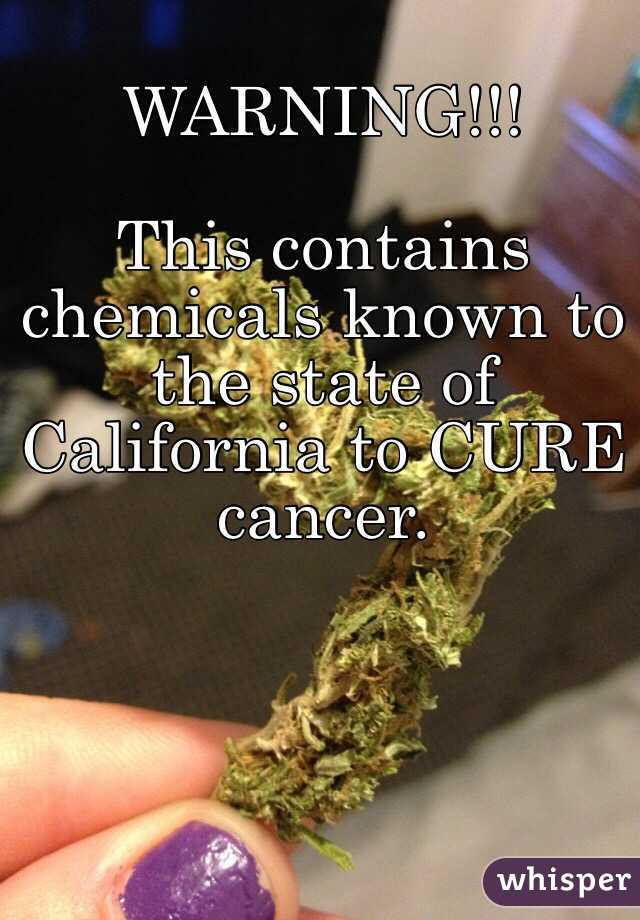 WARNING!!!  This contains chemicals known to the state of California to CURE cancer.