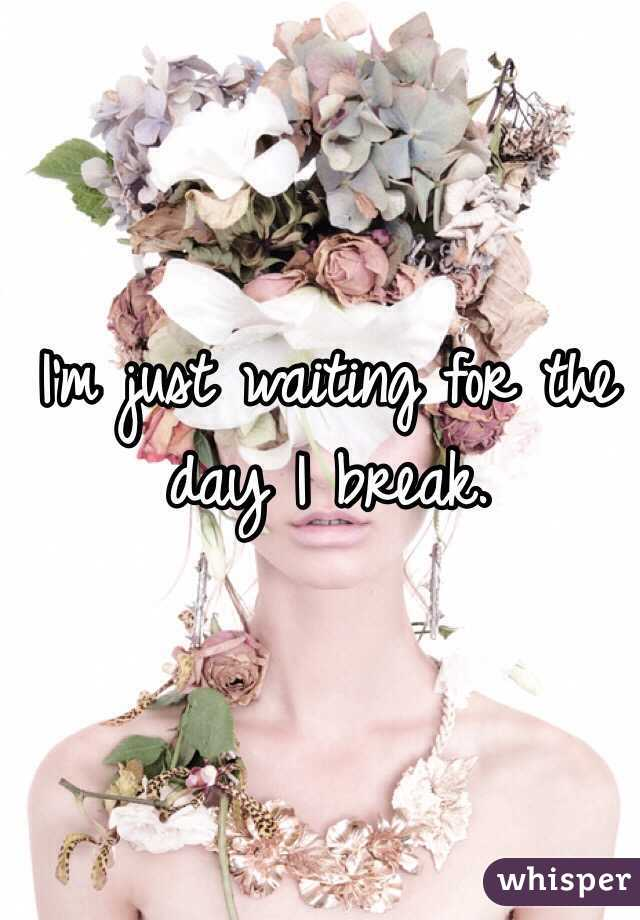 I'm just waiting for the day I break.