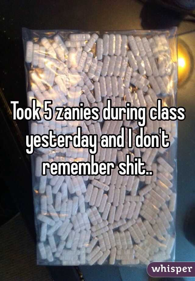 Took 5 zanies during class yesterday and I don't remember shit..