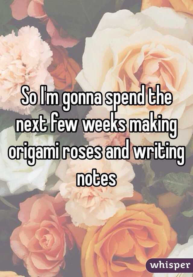 So I'm gonna spend the next few weeks making origami roses and writing notes