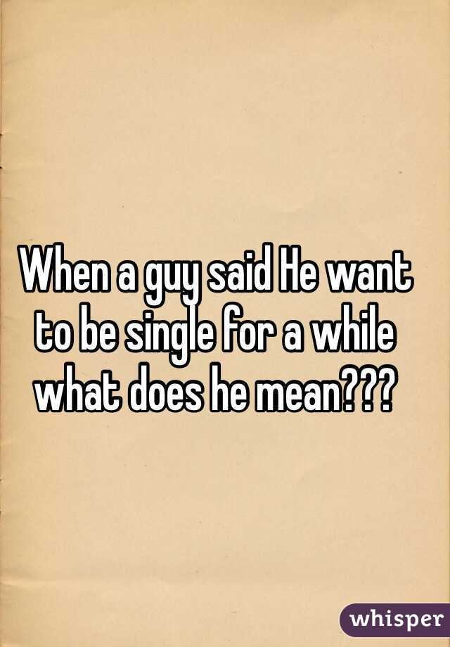 When a guy said He want to be single for a while what does he mean???