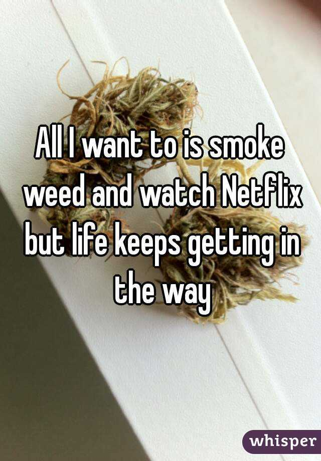 All I want to is smoke weed and watch Netflix but life keeps getting in the way