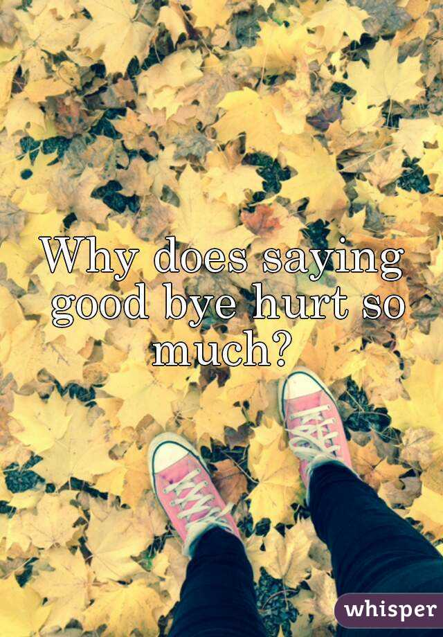 Why does saying good bye hurt so much?