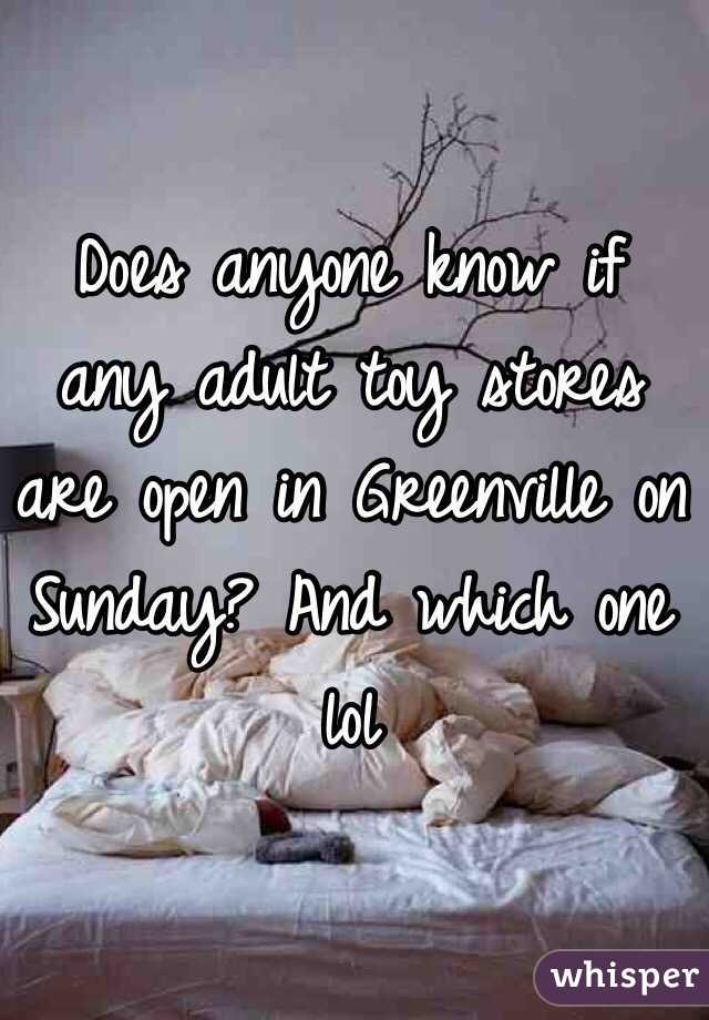 Does anyone know if any adult toy stores are open in Greenville on Sunday? And which one lol