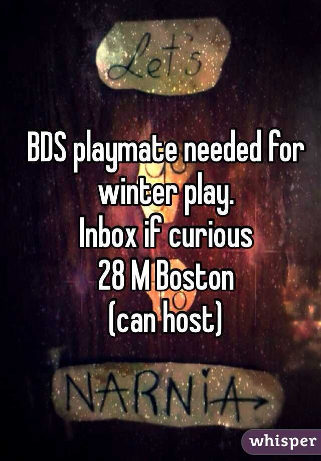 BDS playmate needed for winter play. Inbox if curious  28 M Boston (can host)
