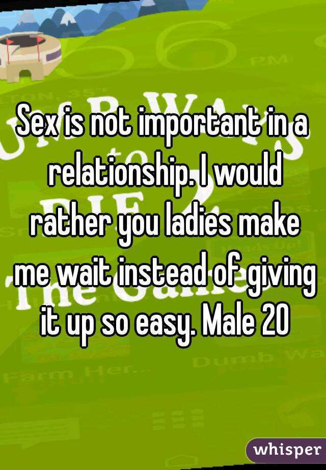 Sex is not important in a relationship. I would rather you ladies make me wait instead of giving it up so easy. Male 20