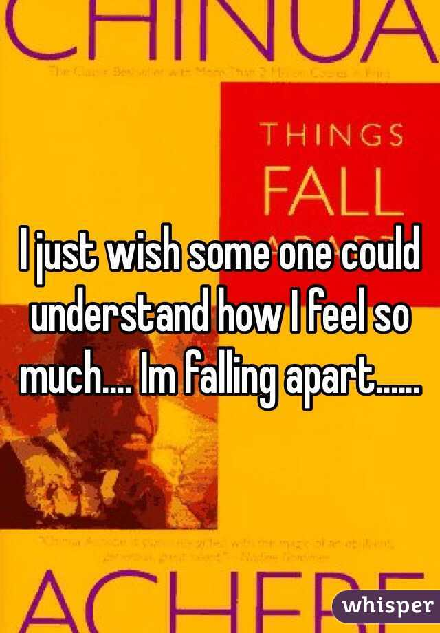 I just wish some one could understand how I feel so much.... Im falling apart......