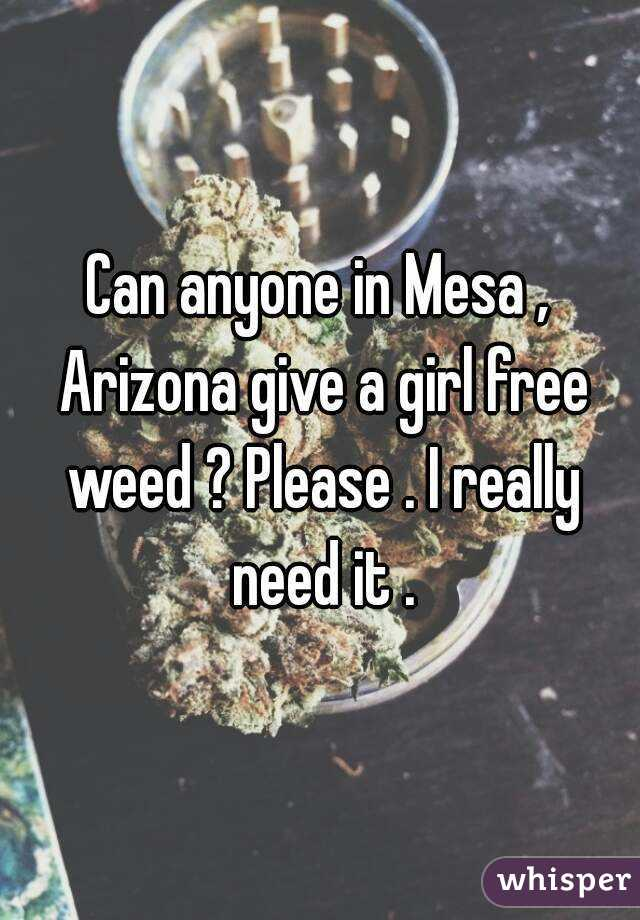 Can anyone in Mesa , Arizona give a girl free weed ? Please . I really need it .