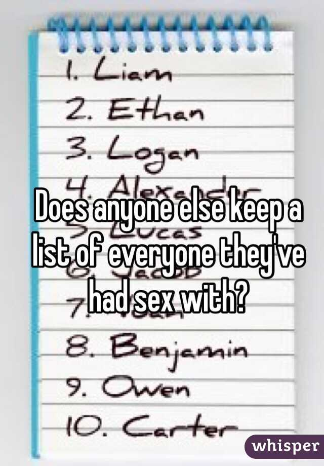 Does anyone else keep a list of everyone they've had sex with?