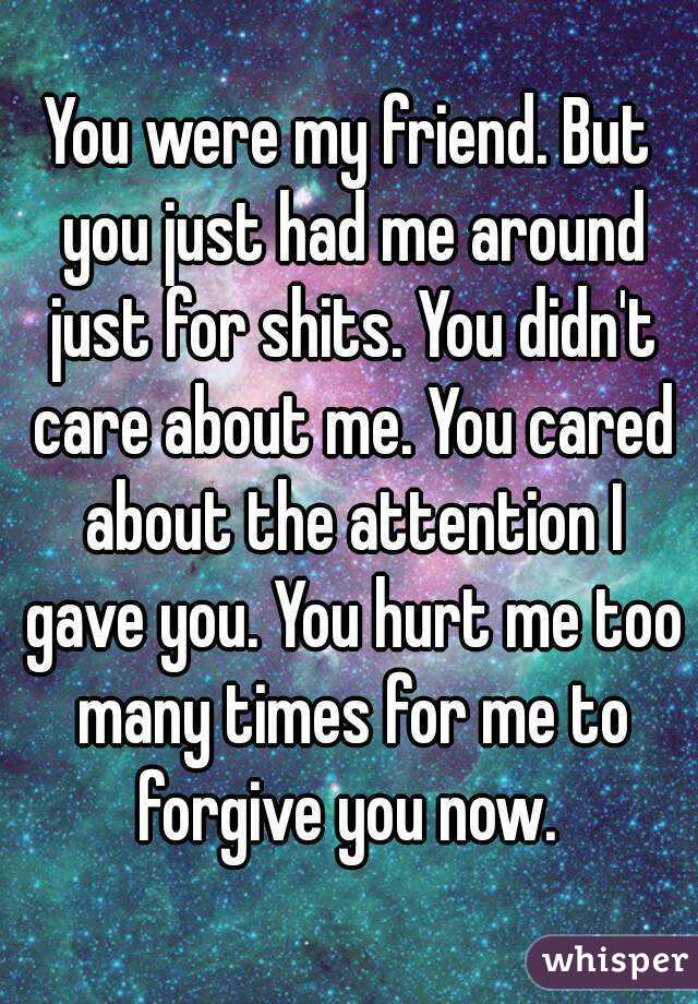 You were my friend. But you just had me around just for shits. You didn't care about me. You cared about the attention I gave you. You hurt me too many times for me to forgive you now.