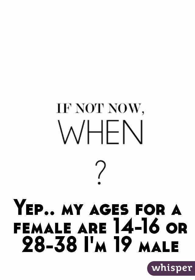 Yep.. my ages for a female are 14-16 or 28-38 I'm 19 male