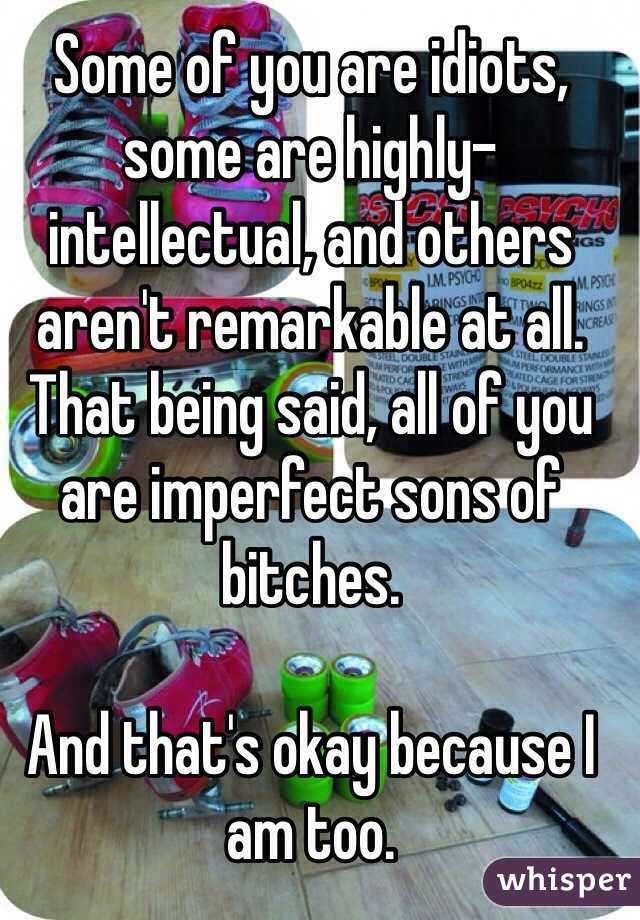Some of you are idiots, some are highly-intellectual, and others aren't remarkable at all. That being said, all of you are imperfect sons of bitches.   And that's okay because I am too.