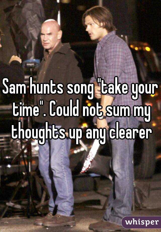 "Sam hunts song ""take your time"". Could not sum my thoughts up any clearer"