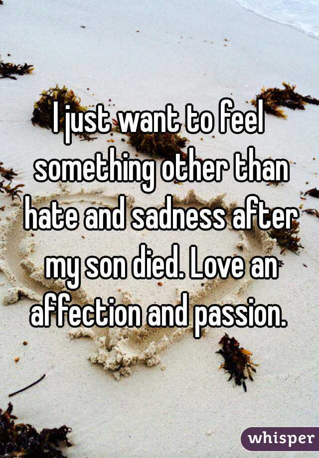 I just want to feel something other than hate and sadness after my son died. Love an affection and passion.