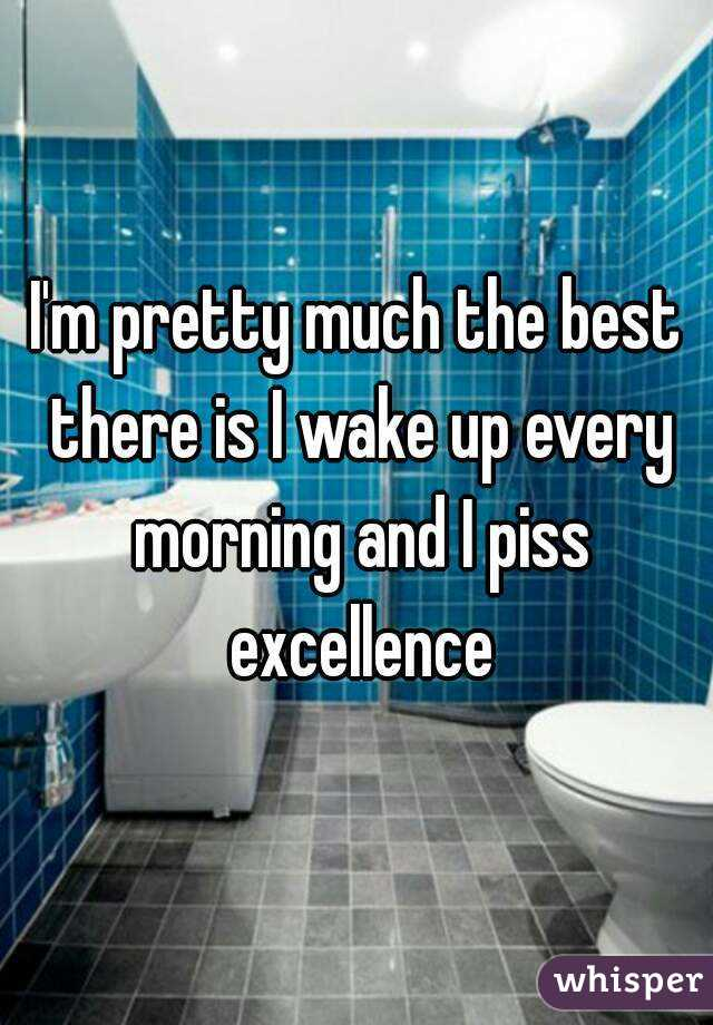 I'm pretty much the best there is I wake up every morning and I piss excellence