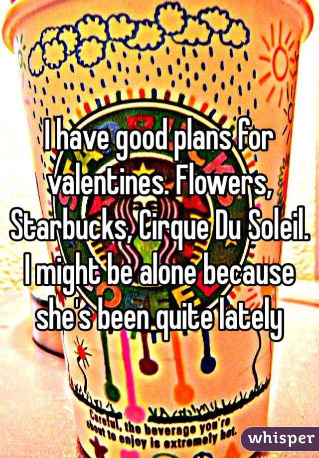 I have good plans for valentines. Flowers, Starbucks, Cirque Du Soleil. I might be alone because she's been quite lately