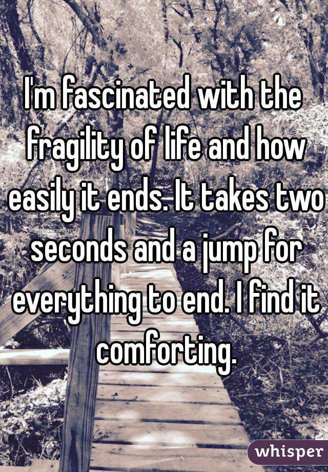 I'm fascinated with the fragility of life and how easily it ends. It takes two seconds and a jump for everything to end. I find it comforting.