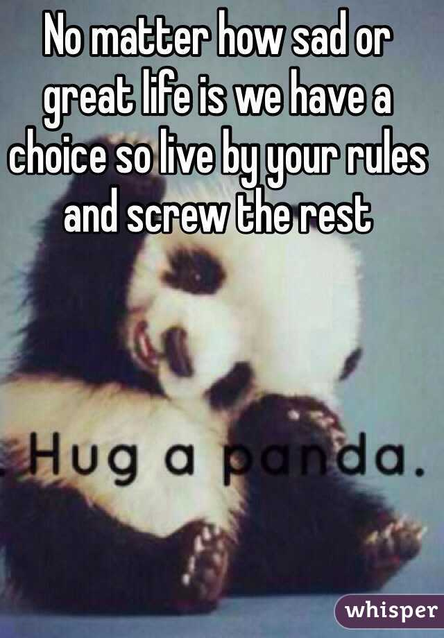 No matter how sad or great life is we have a choice so live by your rules and screw the rest
