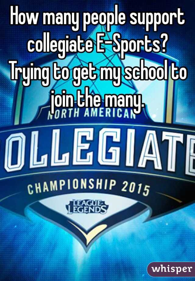 How many people support collegiate E-Sports? Trying to get my school to join the many.