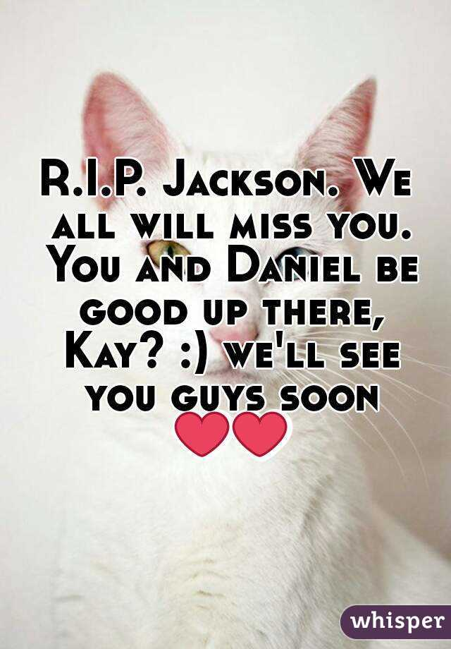 R.I.P. Jackson. We all will miss you. You and Daniel be good up there, Kay? :) we'll see you guys soon ❤❤