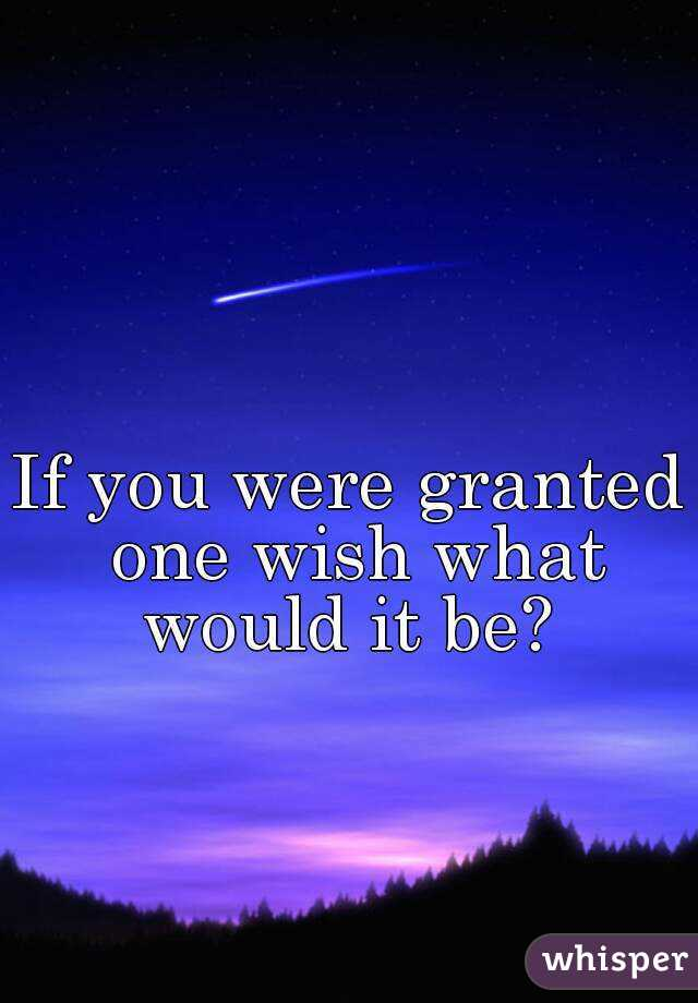 If you were granted one wish what would it be?
