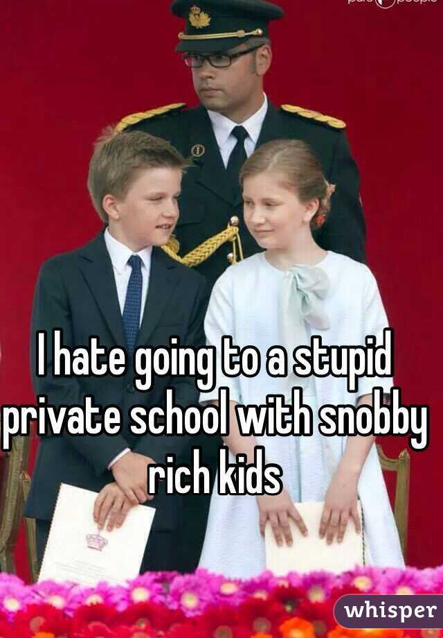 I hate going to a stupid private school with snobby rich kids