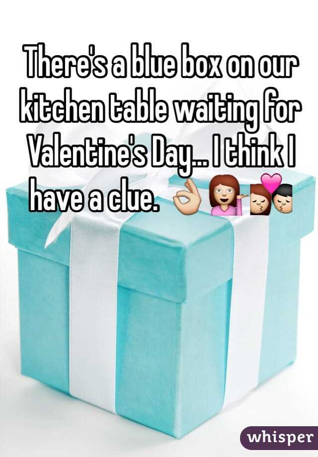 There's a blue box on our kitchen table waiting for Valentine's Day... I think I have a clue. 👌💁💏