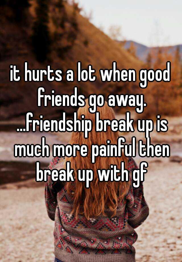 it hurts a lot when good friends go away     friendship break up is much