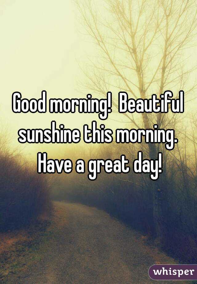 Good morning!  Beautiful sunshine this morning.  Have a great day!