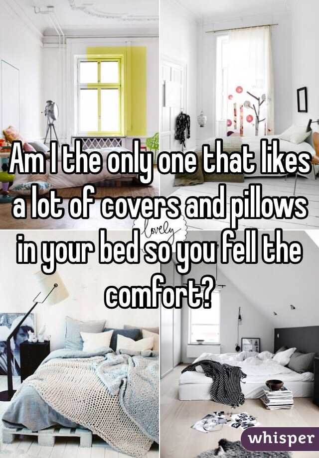 Am I the only one that likes a lot of covers and pillows in your bed so you fell the comfort?