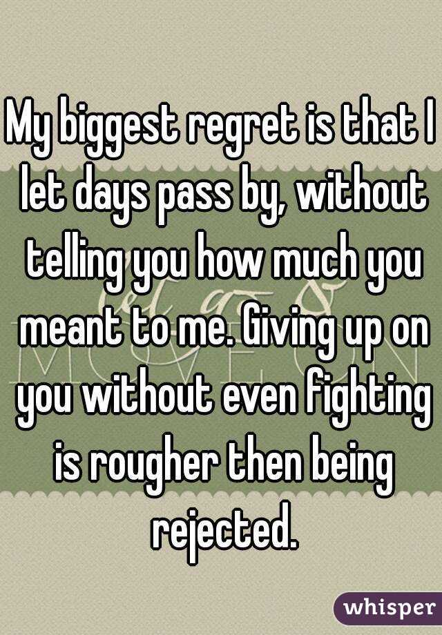 My biggest regret is that I let days pass by, without telling you how much you meant to me. Giving up on you without even fighting is rougher then being rejected.