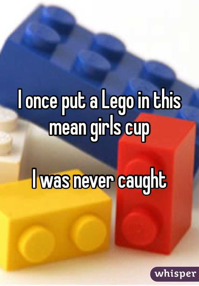 I once put a Lego in this mean girls cup  I was never caught