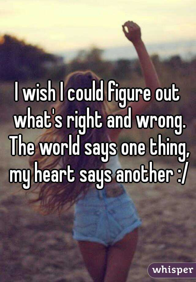 I wish I could figure out what's right and wrong. The world says one thing, my heart says another :/