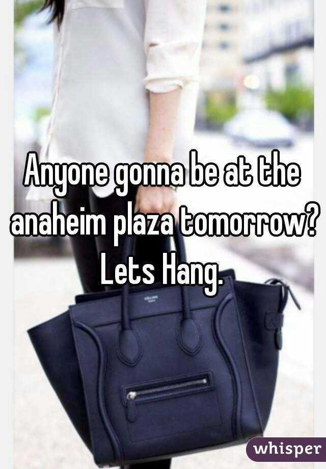 Anyone gonna be at the anaheim plaza tomorrow? Lets Hang.