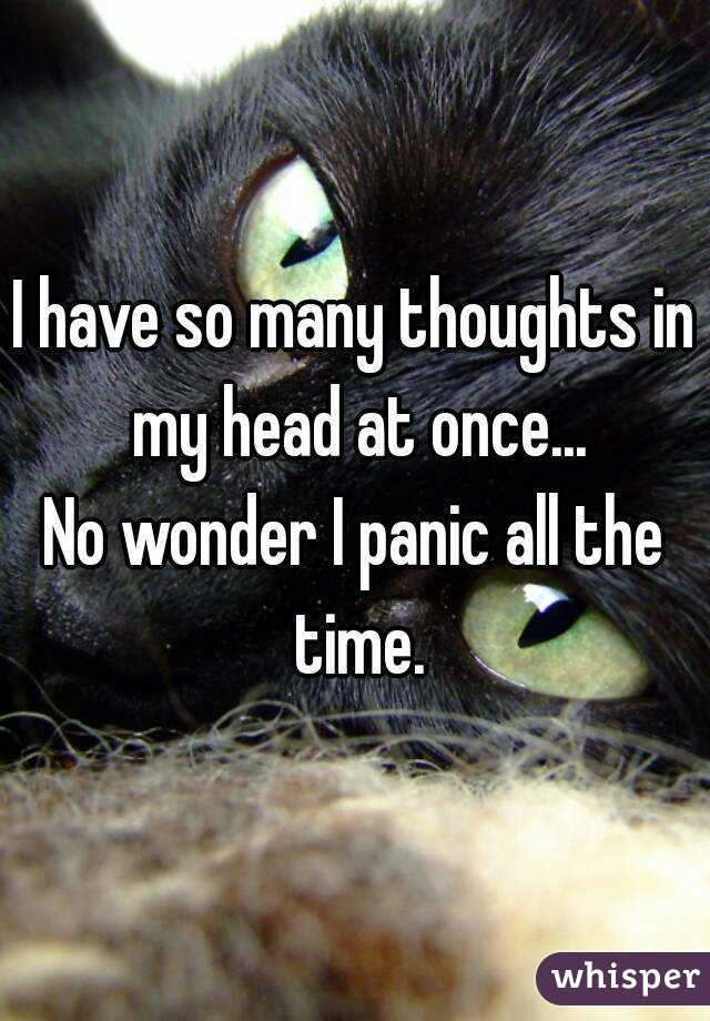 I have so many thoughts in my head at once... No wonder I panic all the time.
