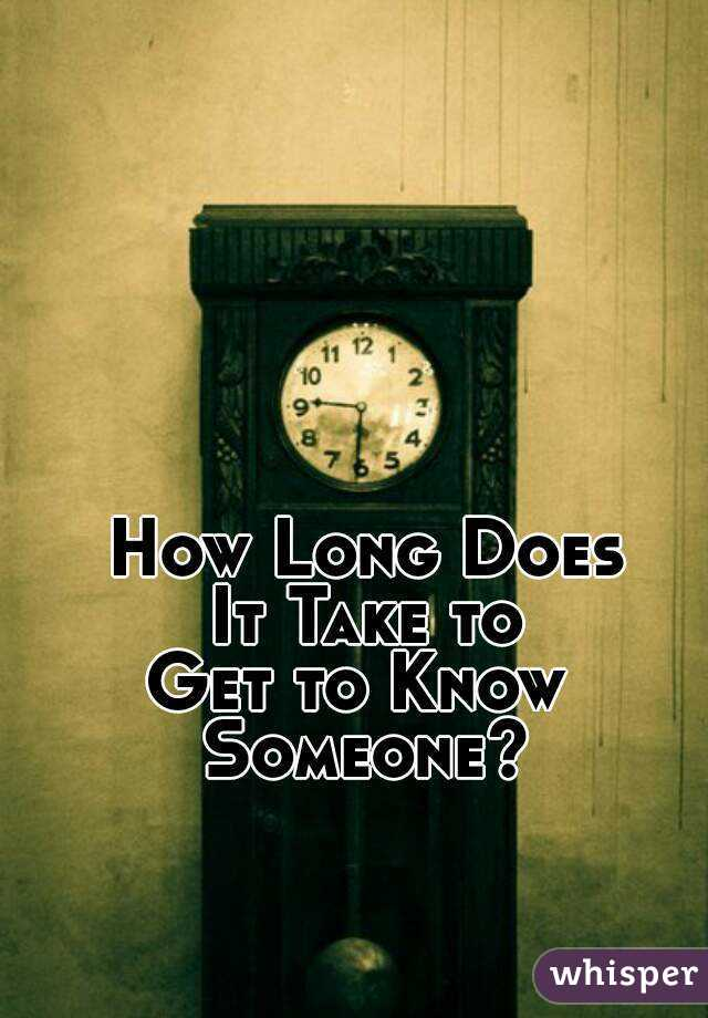 How long does it take to know someone