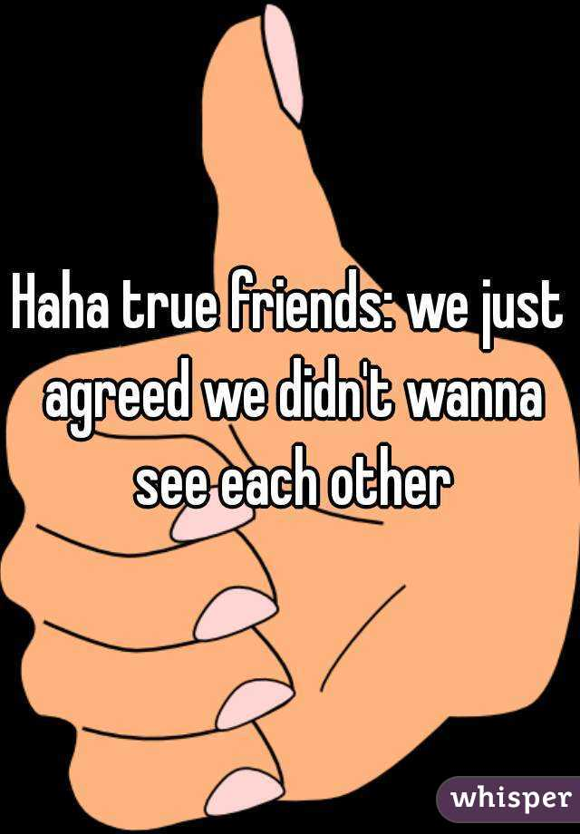 Haha true friends: we just agreed we didn't wanna see each other