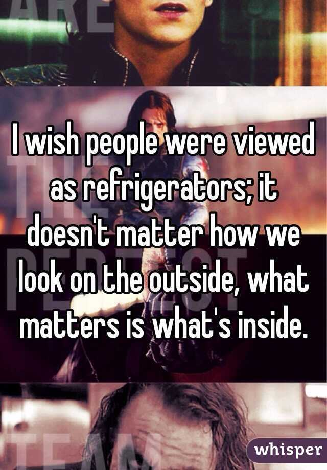 I wish people were viewed as refrigerators; it doesn't matter how we look on the outside, what matters is what's inside.