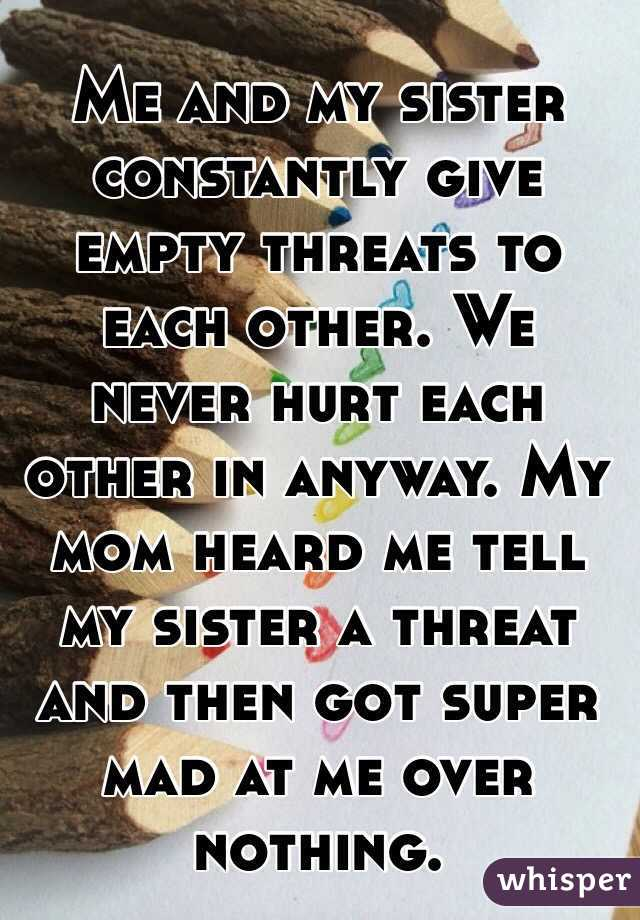 Me and my sister constantly give empty threats to each other. We never hurt each other in anyway. My mom heard me tell my sister a threat and then got super mad at me over nothing.