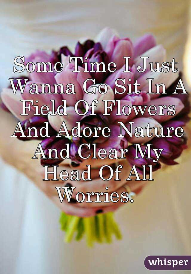 Some Time I Just Wanna Go Sit In A Field Of Flowers And Adore Nature And Clear My Head Of All Worries.