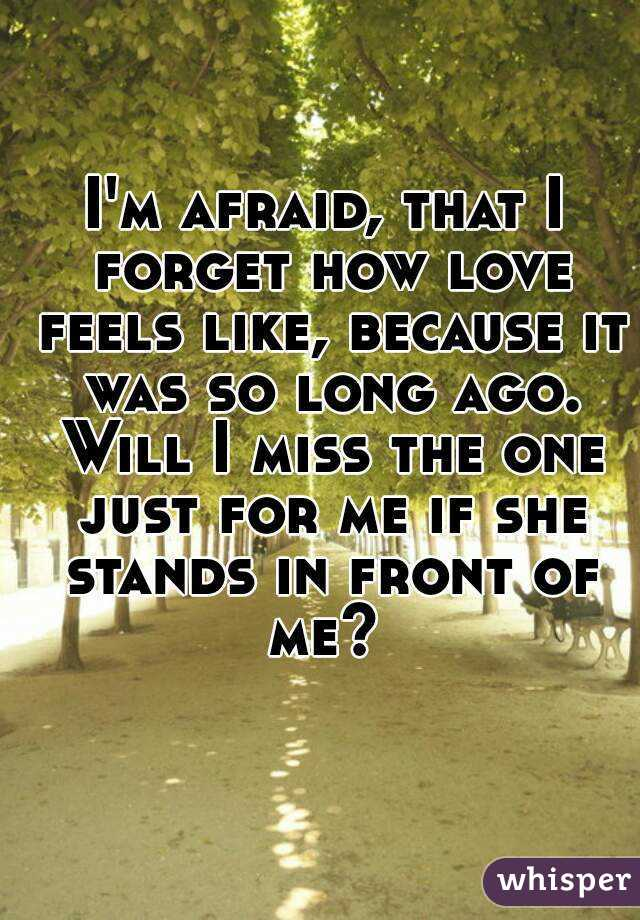 I'm afraid, that I forget how love feels like, because it was so long ago. Will I miss the one just for me if she stands in front of me?