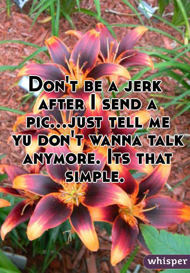 Don't be a jerk after I send a pic...just tell me yu don't wanna talk anymore. Its that simple.