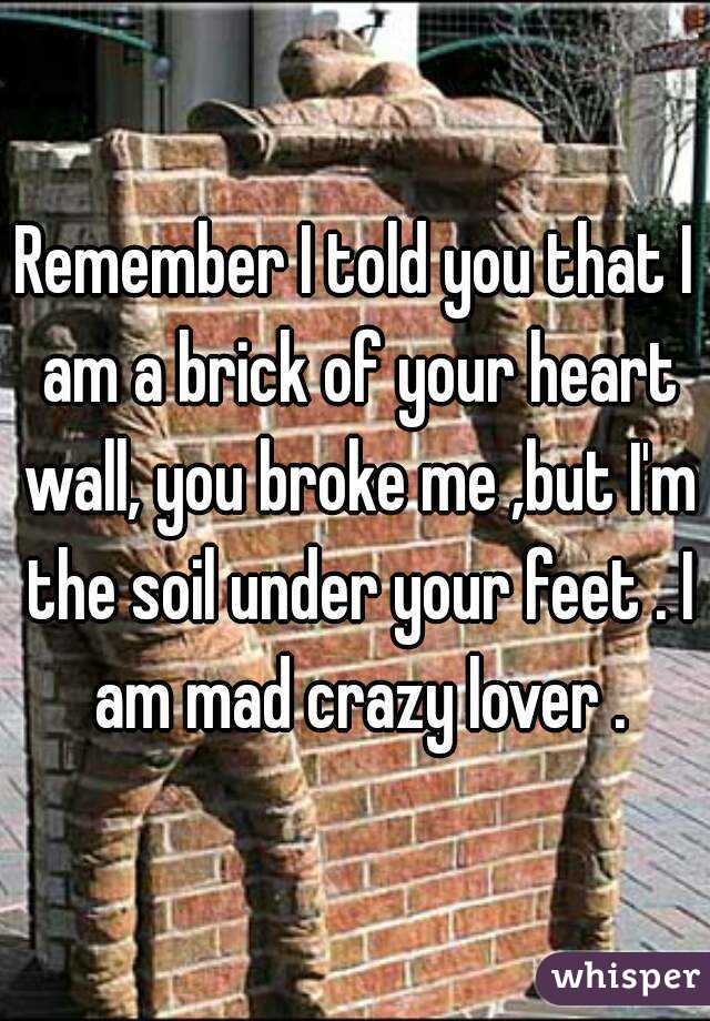 Remember I told you that I am a brick of your heart wall, you broke me ,but I'm the soil under your feet . I am mad crazy lover .