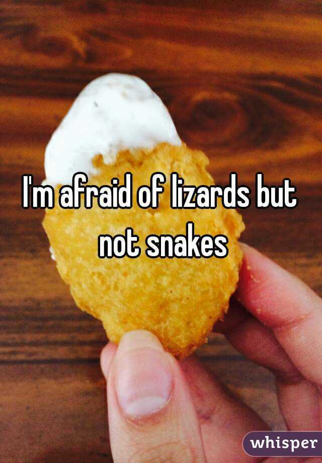 I'm afraid of lizards but not snakes