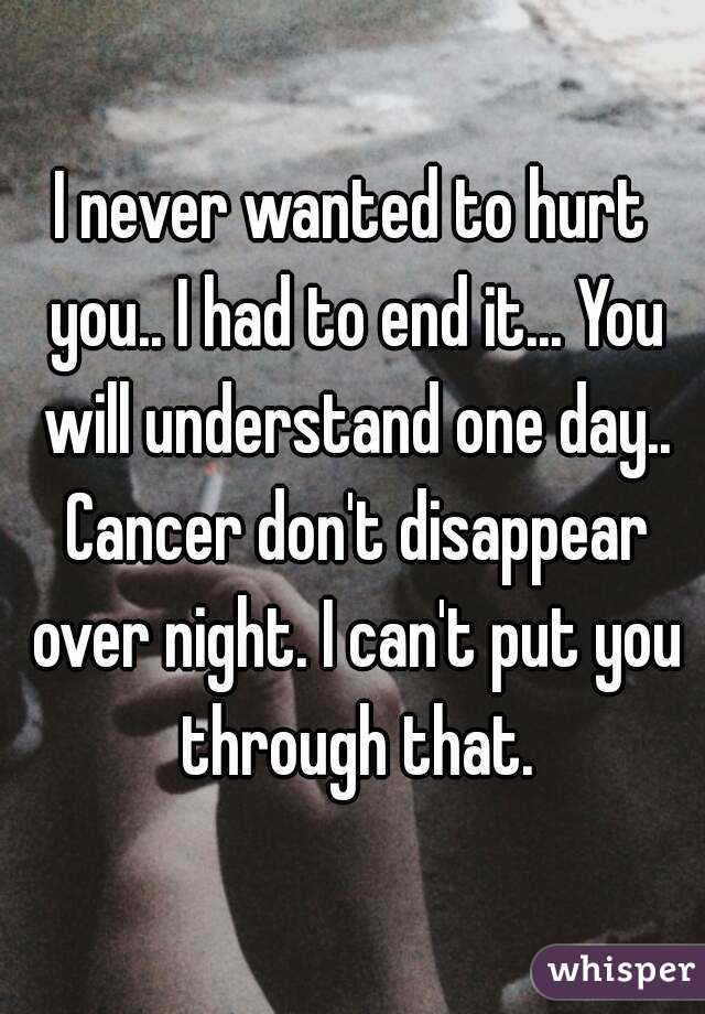 I never wanted to hurt you.. I had to end it... You will understand one day.. Cancer don't disappear over night. I can't put you through that.