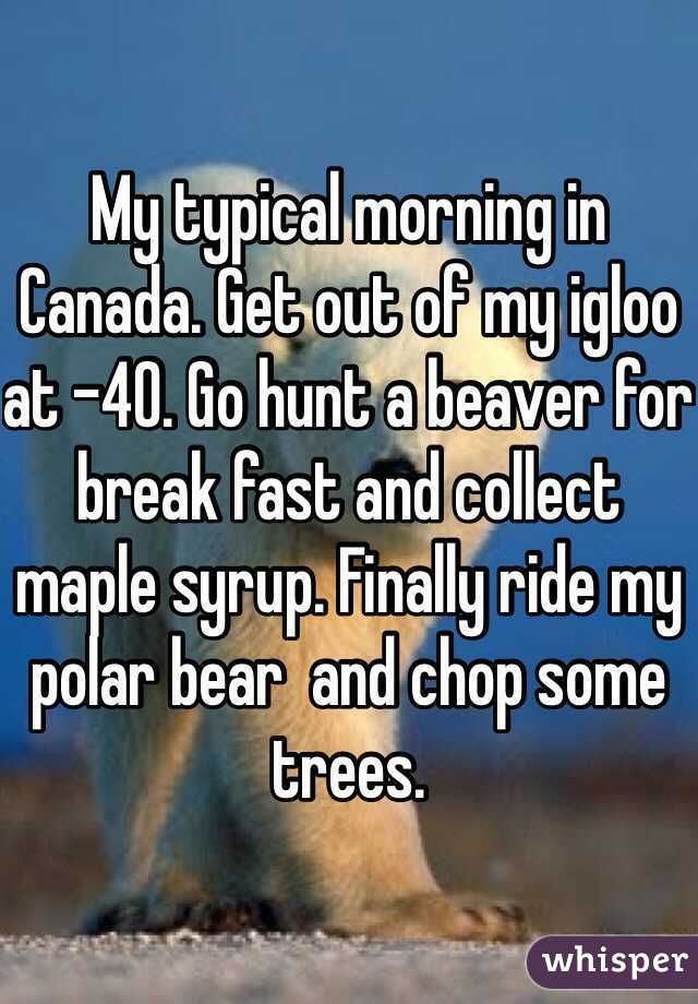 My typical morning in Canada. Get out of my igloo at -40. Go hunt a beaver for break fast and collect maple syrup. Finally ride my polar bear  and chop some trees.