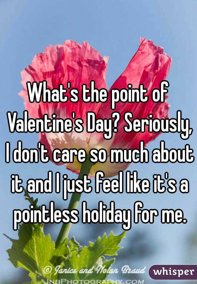 What's the point of Valentine's Day? Seriously, I don't care so much about it and I just feel like it's a pointless holiday for me.