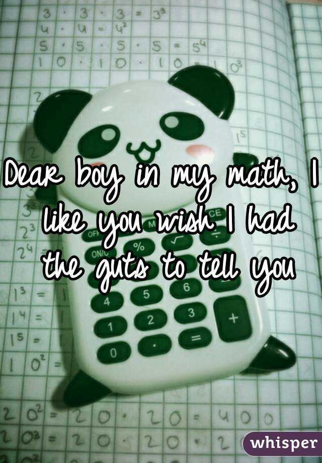 Dear boy in my math, I like you wish I had the guts to tell you